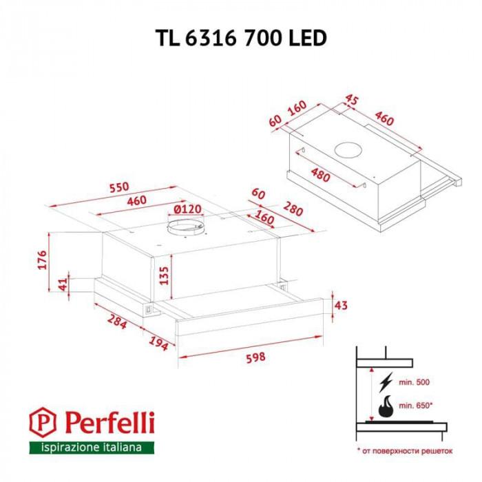 Витяжка Perfelli TL 6316 WH 700 LED